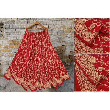 Long Skirt Pure Satin Silk Hand Embroidered Unstitched Lehenga