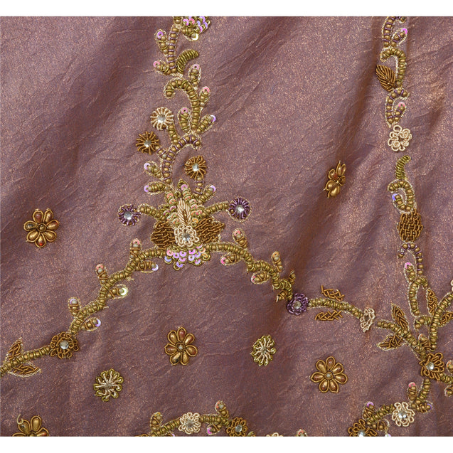 Long Skirt Purple 100% Pure Silk Hand Beaded Stitched Lehenga
