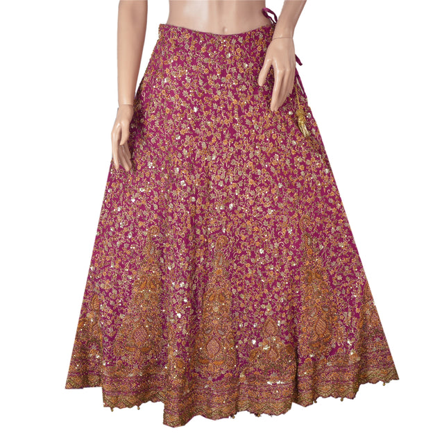 Long Skirt Pure Georgette Silk Hand Beaded Stitched Lehenga