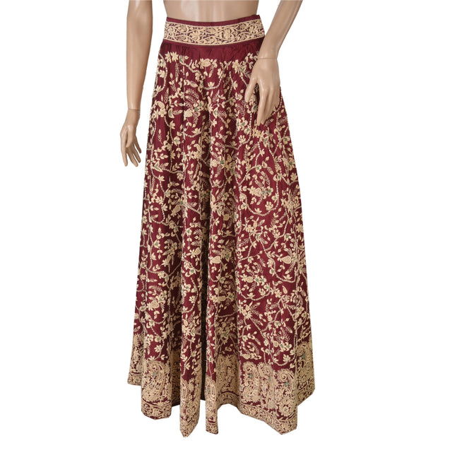 Long Skirt 100% Pure Satin Silk Hand Beaded Stitched Lehenga