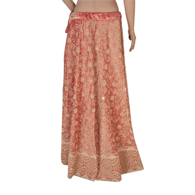 Long Skirt Red Pure Tissue Silk Hand Beaded Stitched Lehenga