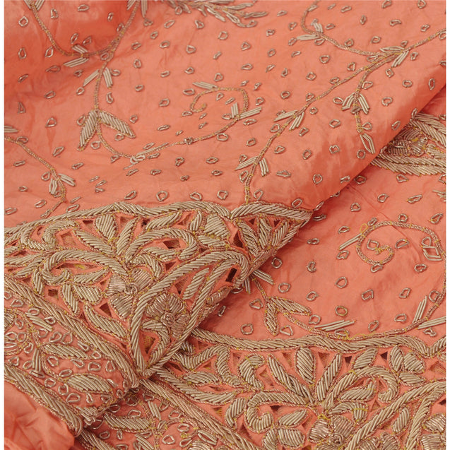Long Skirt Peach Pure Silk Hand Embroidered Unstitched Lehenga