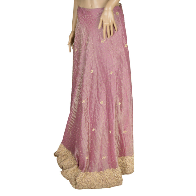 Long Skirt Pure Tissue Silk Handmade Stitched Purple Lehenga