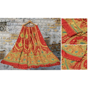 Sanskriti Vintage Red Long Skirt Georgette Hand Beaded Zari Unstitched Lehenga