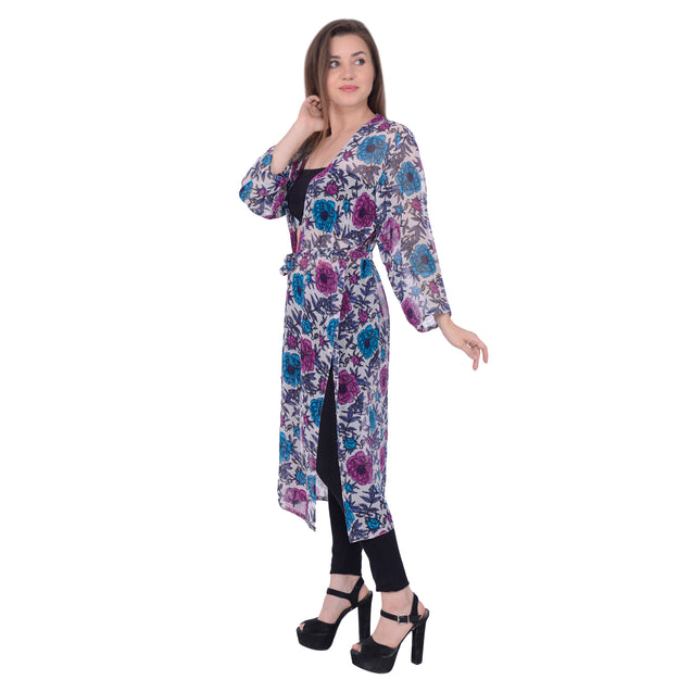 Sanskriti 100% Pure Georgette White Floral Printed Long Shrug Casual/Beach Wear