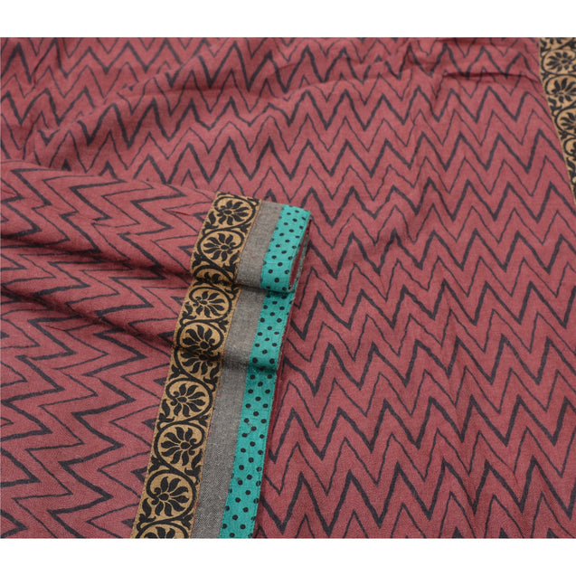 Sanskriti Vintage Heavy Indian Sari 100% Pure Woolen Fabric Printed Woven Sarees