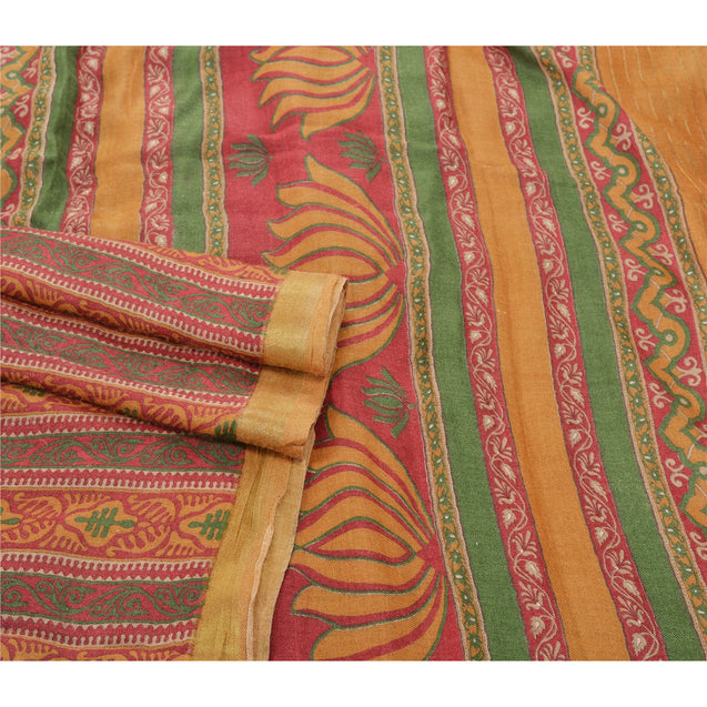 Sanskriti Vintage Heavy Indian Sarees 100% Pure Woolen Fabric Printed Woven Sari