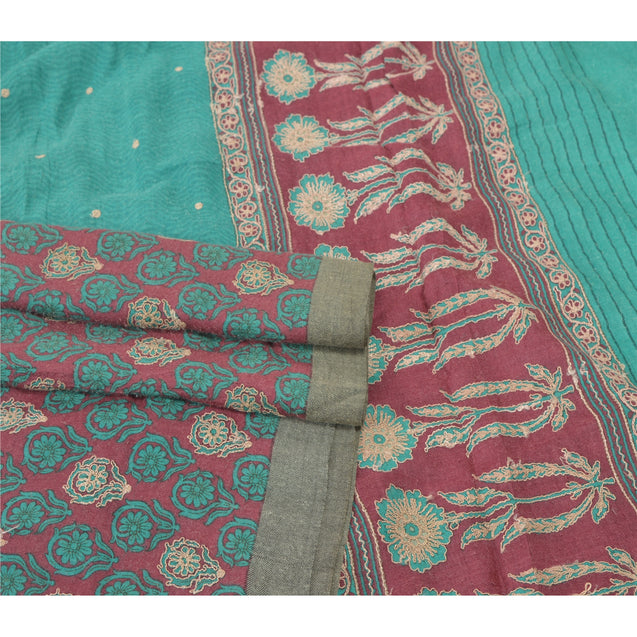 Sanskriti Vintage Heavy Sarees Pure Woolen Fabric Pink Embroidered Woven Sari