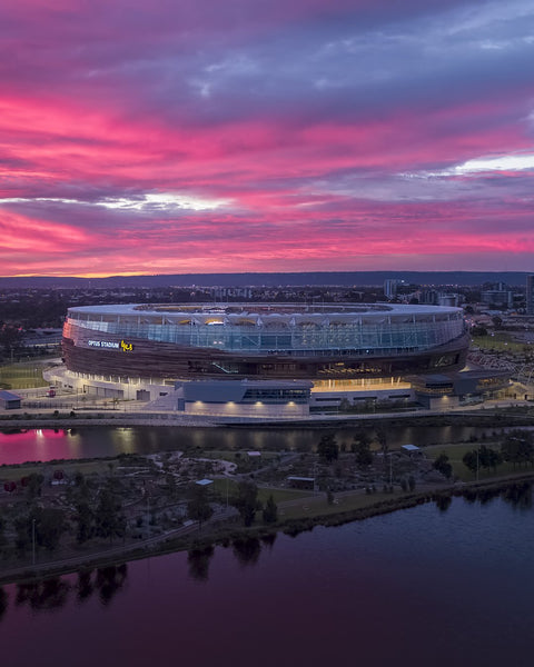 Unbelievable colours at sunrise, Optus Stadium