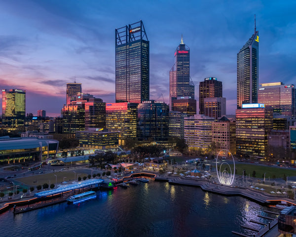 Beautiful lights of Perth City