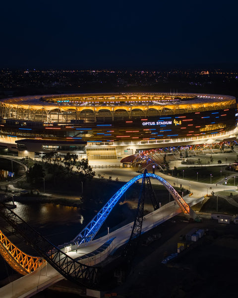 Optus Stadium and Matagarup Bridge