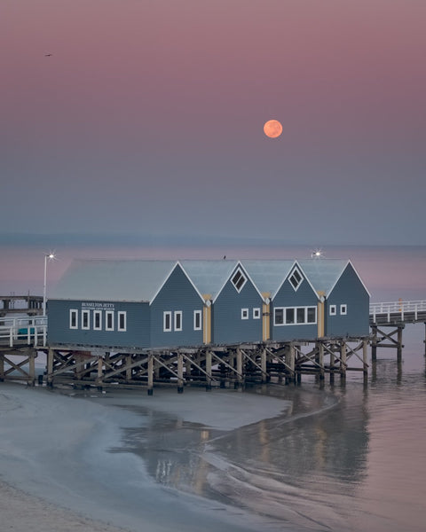 Haze morning with a super moon at Busselton Jetty