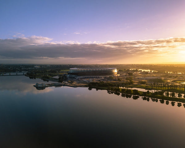 First lights kissing the New Perth Stadium
