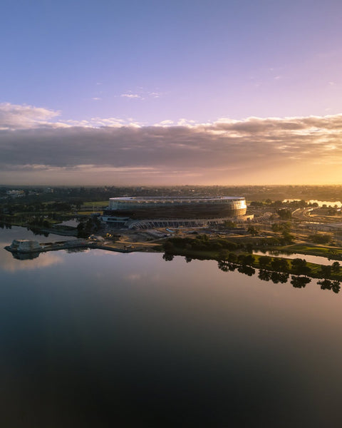 First lights kissing the Optus Stadium