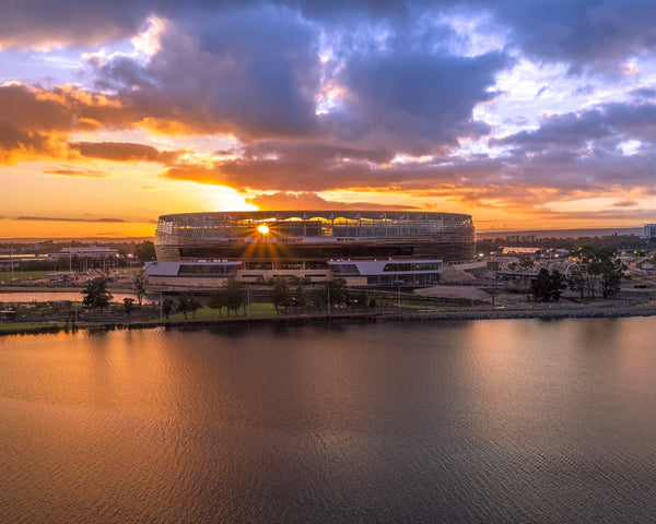New Perth Stadium - Sun rays through the architecture