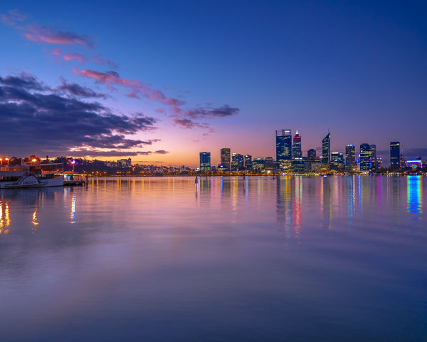 The sunset lights of Perth City