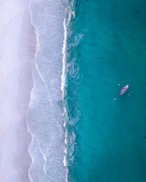 Surf boat from above
