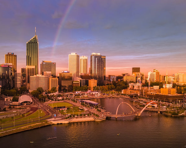 A piece of a rainbow over Perth City