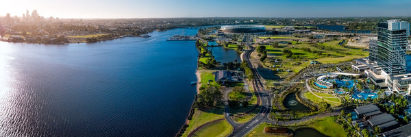 Perth CBD, Swan River, Optus Stadium and Crowns Perth