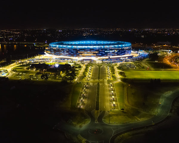 Optus Stadium at night