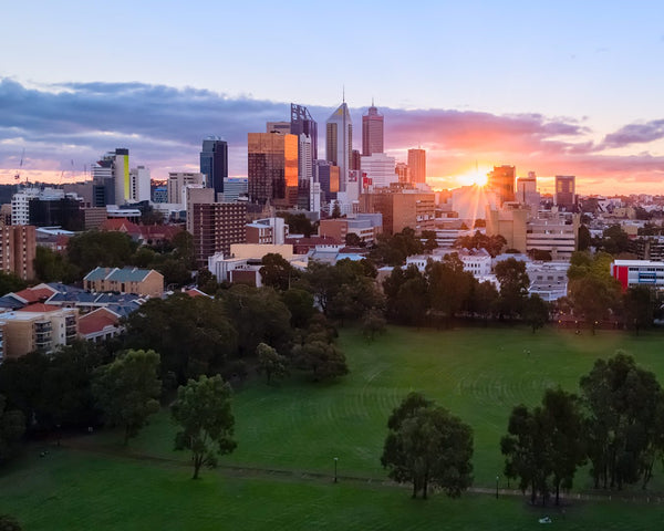 Sunset over the Perth city
