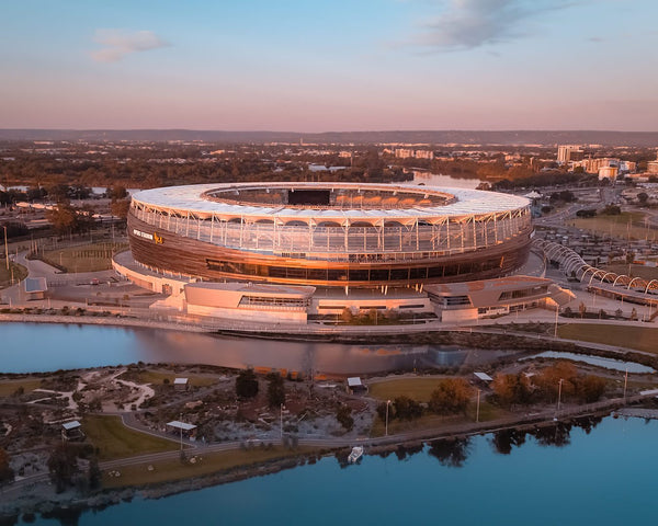 The gold colours of Optus Stadium