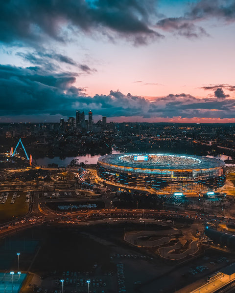 The lights of Perth - Optus Stadium, Matagarup Bridge, City Of Perth