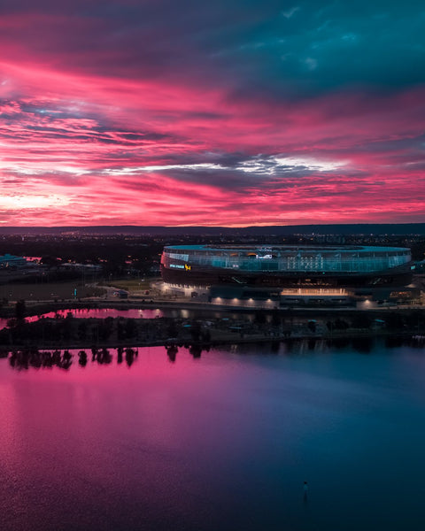 Incredible sunrise colours at Optus Stadium
