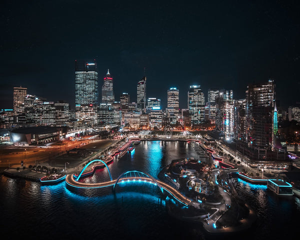 Night lights at City of Perth