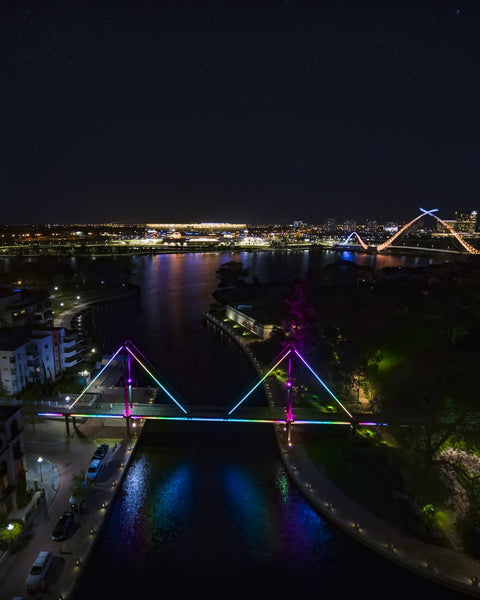Claisebrook, Optus Stadium and Matagarup Bridge at Night