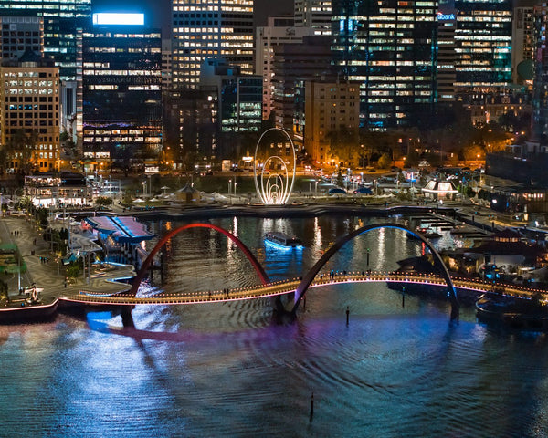 The splendour of Elizabeth Quay at night
