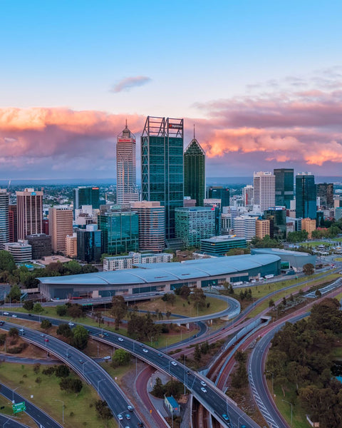 Last sun lights over Perth