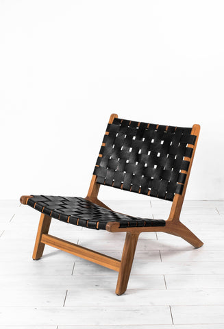 Teak Leather Woven Lounge Chair - Paradiddle Lifestyle