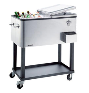 Heller 80L Alfresco Ice Drink Cooler Cart Box Chest Trolley Tray For BBQ- ACC80 - Sydney Electronics