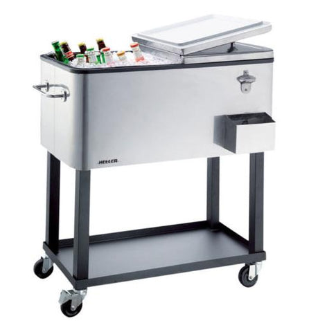 Heller 80L Alfresco Ice Drink Cooler Cart Box Chest Trolley Tray For BBQ- ACC80