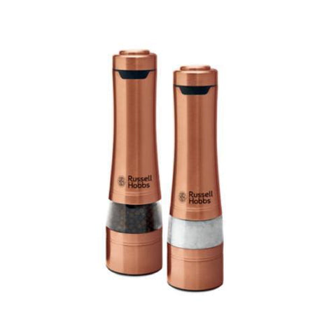 Russell Hobbs Salt & Pepper Mills One Touch Operation Grinders- Copper RHPK4000CPR - Sydney Electronics