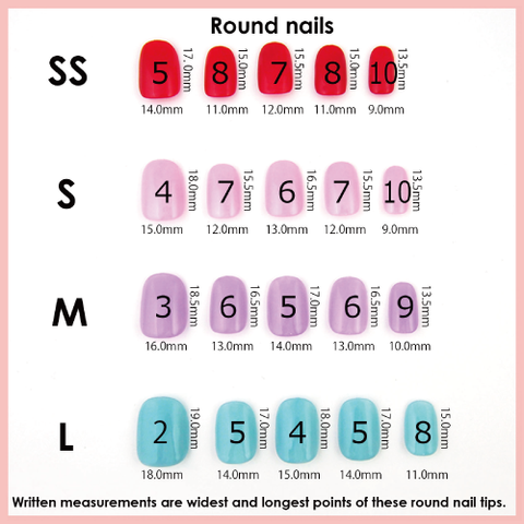 Size guide michi artificial nails online shop from tokyo