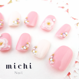 Jellylike Pink and simple 3D flower Nail