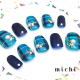 Navy Blue and Blue Tartan Pattern with Pearl Nail