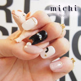 Cat Ear Nail * Black Nyanko(kitty) x Pink Beige *