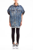 0063 KARIN cappa in denim 100% Cotone effetto destroyed