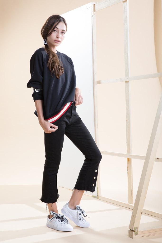 0054 GISELLE Pant color BLACK  Drill + Pearls