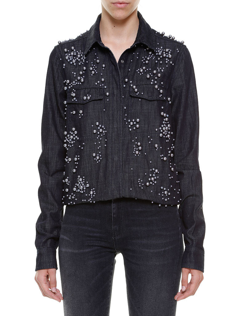 SHIRT Denim Black CERVIA Pearls