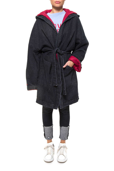 MIAMI 0033 JACKET Embroider Bathrobe Coat denim Black