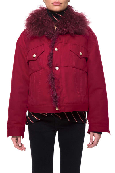 LENNY JACKET 0029-B Drill Color +Mongolian Fur