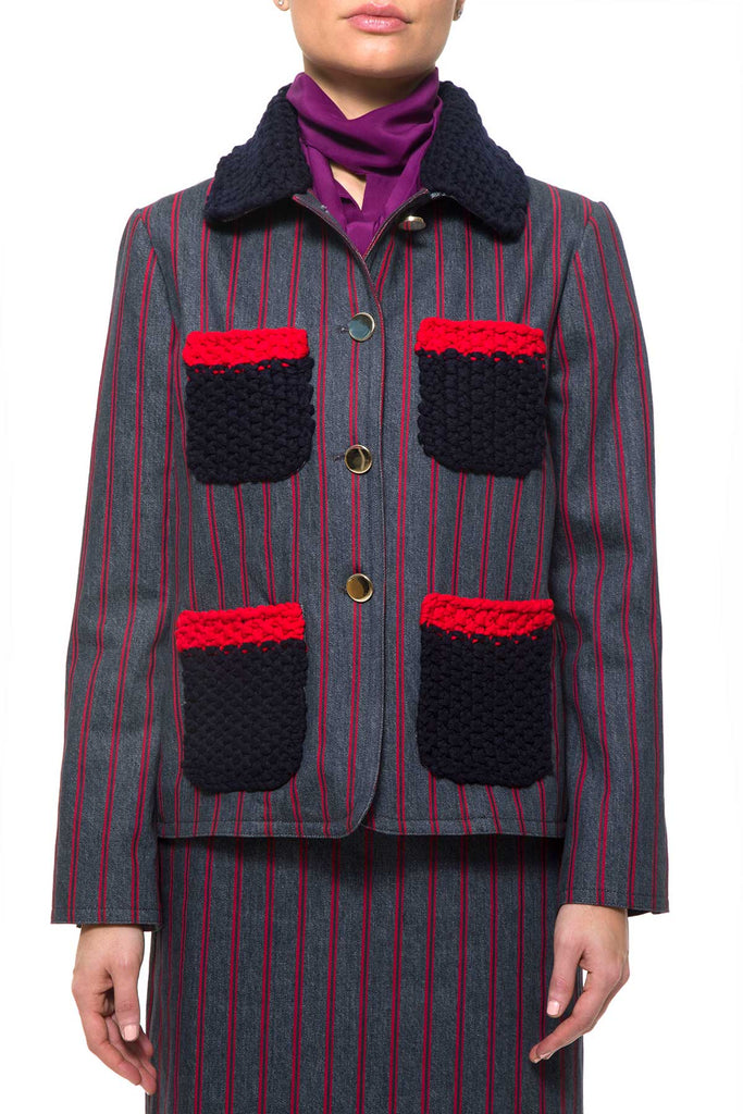 VIENNA Bo 7011 JACKET Regimental Printed Jacket with contrast wool