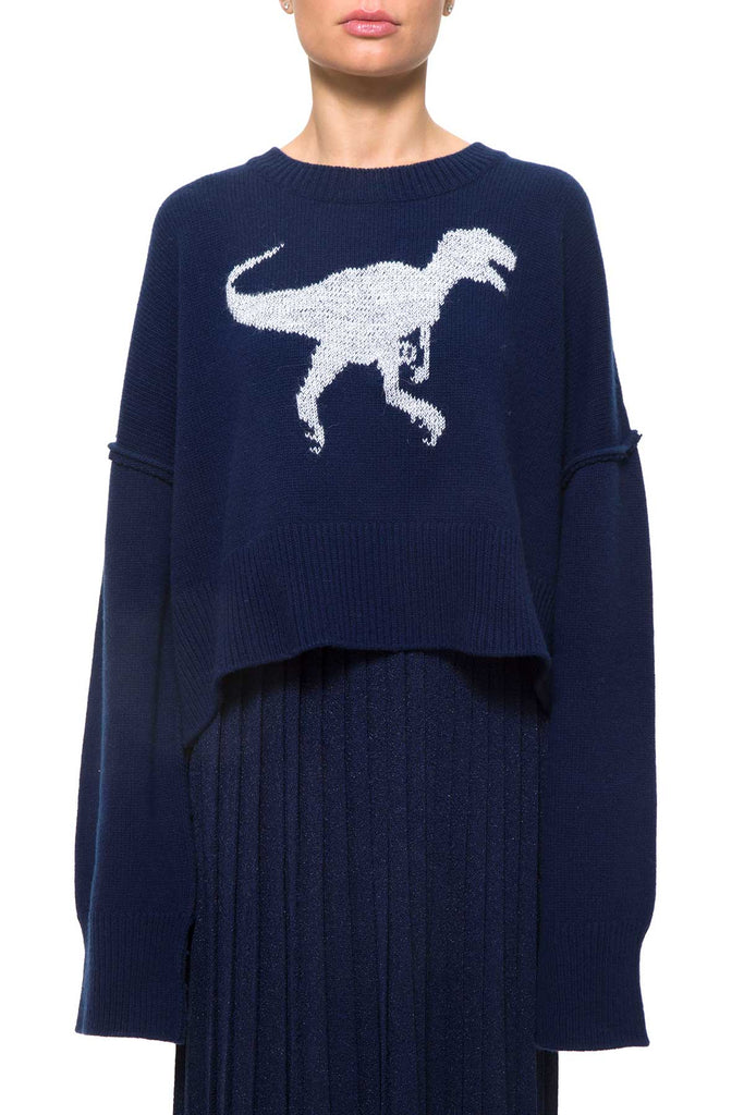 ODDI WO8003 Blu SWEATER Wool/Cachemire with Trex Embroidered