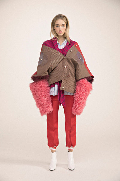 0031 LOTO CAPE WITH MONGOLIAN FUR - DOUBLE