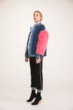 0027 LEVI jacket Denim Double in maglia lurex multicolor con maniche in Mongolia