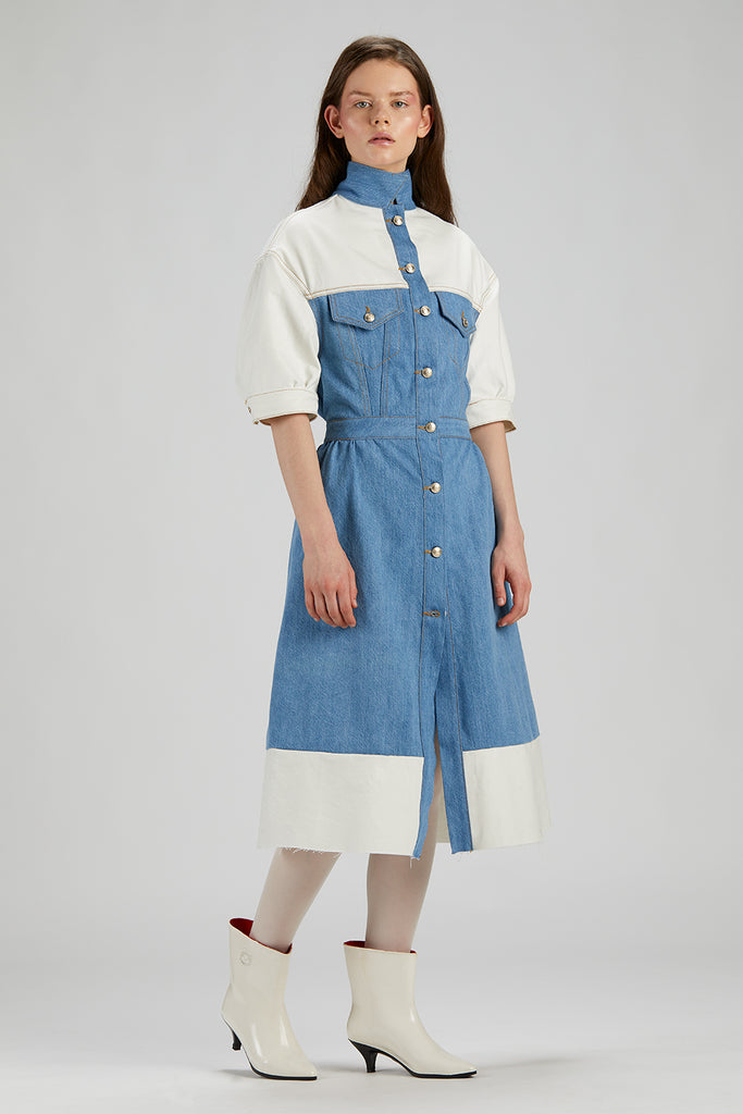 0033 CAROLINA DRESS Denim + Drill White laminato